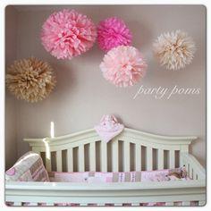 Lovely .. Set Of 5 Tissue Paper Pom Poms.. Nursery Decor / Party Decoration…