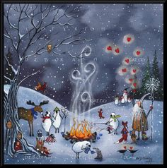 Winter Friends, Sheep Crows Moose Badger Rabbits Dachshunds Old Man Winter Fox Valentine Hearts PRINT by Deborah Gregg Winter Pictures, Christmas Pictures, Christmas Art, I Love Winter, Winter Art, Art Carte, Sheep Art, Art Et Illustration, Primitive Folk Art