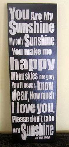 You are My Sunshine, Fun, Expressive Word Canvas, wall decor, for Home, Office, Dorm, Bedroom,  Kids Room wall art