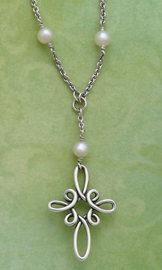 Cross of Loops Necklace with Pearls #jamesavery #jewelry