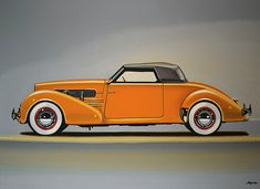 Realistic acrylic painting of the American oldtimer the Cord 810, painted by the Dutch fine artist Paul Meijering - the Original painting is 120 x 90 cn and for sale.