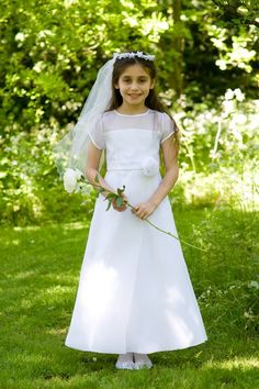 Communion Dress - Modern A-line with Sheer Organza Bodice and Short Sleeves - Aimee - Age 7 8 and 9 years - Beautiful Communion Dresses for your