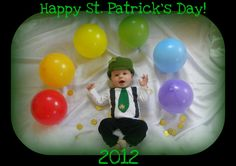 St. Patty's Day photo set up. Balloons for rainbow and hand made shirt and hat.