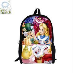 16Inch Alice In Wonderland Backpack Customized Mochila Mujer Children School Bag Mochila Escolar Teenage Gift Free Shipping A040 #Affiliate