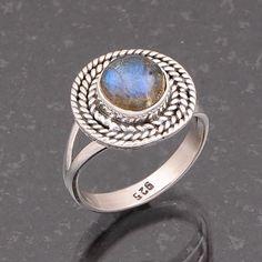 LABRADORITE 925 STERLING SILVER NATURAL FANCY RING JEWELLERY 3.87g DJR4704 #Handmade #Ring