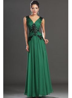 christmas party dress Beautiful V-neck Appliques Beading Green Evening Dresses from 27dress.com #27dress #27dresses #greendress #long #chiffondress #V-Neck #onsale