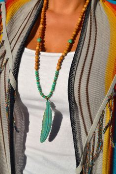 Long Sandalwood and Green Moss Agate Beaded by uniquebeadingbyme #boho #feather #bohemian
