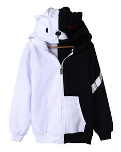 H.X Anime Dangan Ronpa Black White Bear Cosplay Fleece Hoodie Jacket *** Be sure to check out this awesome product.