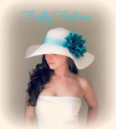 cbf4ad76d35 Tropic Beauty - White Floppy Hat with Big Teal Turquoise Blue Dahlia Flower  for Kentucky Derby Race Church Wedding Beach or Garden Party