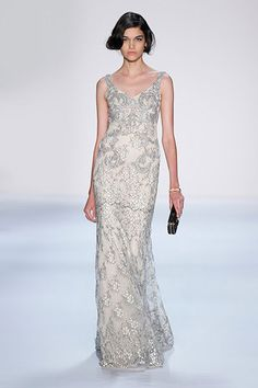 Badgley Mischka Spring 2014 Runway Show. cOLOR IS SILVERY TAUPE LACE ON TOP OF BLUSH SILK LINING