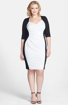 Scarlett & Jo Side Pleat Colorblock Sheath Dress (Plus Size) available at #Nordstrom