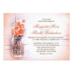 peach flowers mason jar wedding invitations