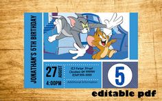 Tom and Jerry Invitation - EDITABLE TEXT - Customizable Tom and Jerry Birthday invitation - Instant Download by inviteBuzz on Etsy https://www.etsy.com/listing/236425005/tom-and-jerry-invitation-editable-text