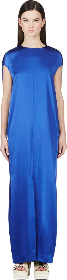 ACNE STUDIOS Royal Blue Teddi Satin Dress. #acnestudios #cloth #dress
