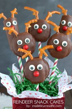 Chocolate snack cakes made to look like reindeer with pretzels and candies