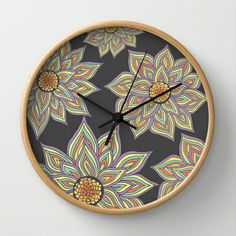 Floral Rhythm In The Dark Wall Clock by Pom Graphic Design  - $30.00 #walldecor #clock #wallclock #decor #decorideas #home #forthehome #decorinspiration #giftideas #floral