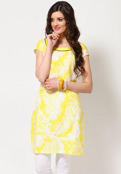 Cotton Printed Yellow Kurta - KURTIS & KURTAS - WOMEN