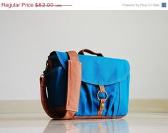 SALE SALE SALE - Koi-S in Teal - Canvas Camera / Vegan Dslr Bag / Base Strap Padded / Water Resistant Liner Interior / Man / Woman's M (65.60 USD) by simcamera