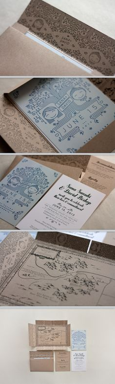 wedding invitation set with map that becomes the envelope.