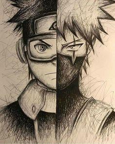 Manga Drawing Kakashi and Obito Fan Drawing Naruto Drawings, Kakashi Drawing, Naruto Sketch, Anime Drawings Sketches, Anime Sketch, Pencil Drawings, Anime Naruto, Naruto Art, Kakashi And Obito