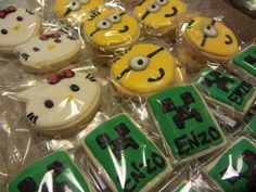 #Cookies #Minion #kitty #MineCraft #TaitEventos Minions, Minecraft, Kitty, Sugar, Cookies, Desserts, Food, Little Kitty, Crack Crackers