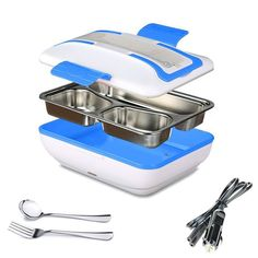SUPOW Lunch Box, Portable Electric Heating Lunch Warmer Box with Removable Stainless Steel Container Food Heater and a Car Charger (Blue): Kitchen & Dining