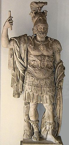 Mars was the Roman god of war (equivalent to Ares in Greek Mythology) and also an agricultural guardian, a combination characteristic of early Rome.  He was the most prominent of the military gods worshipped by the Roman legions