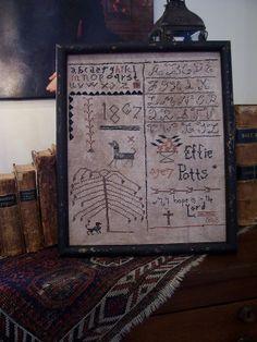 Effie Pott's School girl sampler ..stitched by Linda Babb Seller name on Ebay: theprimitivestitcher