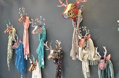 Paper deer mount scarf display- have too many scarves to display all this way but maybe an idea for my favorites.