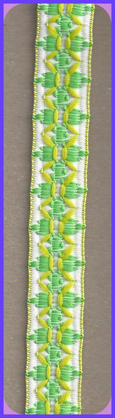Vintage Woven TRIM 1970's Wrights Fabric Greens and White 2-3/4 Yards by TheMaineCoonCat on Etsy