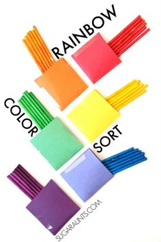 Use dyed lollipop sticks for a color sorting busy bag activity. My Preschooler will love this!