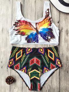 GET $50 NOW   Join Zaful: Get YOUR $50 NOW!http://m.zaful.com/argyle-high-waist-butterfly-print-bikini-set-p_275308.html?seid=5ecn3jgv06rmsp1fkc5tcihab3zf275308