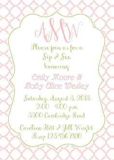 Sip and See Baby Shower Monogram Shower or Party by erinshelby, $14.50