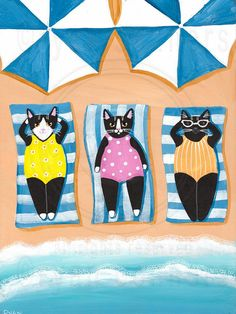 Lazy Sunbathers Original Beach Cat Folk Art Painting