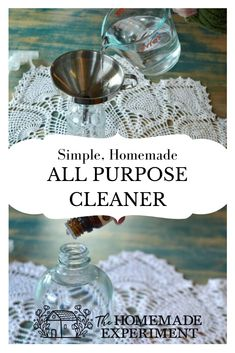 There are a few different ways you can make a simple homemade all purpose cleaner. The biggest difference between them is what you choose as your primary cleaning ingredient. I find that more often than not a simple vinegar and water solution is more than up to the task!  It seems like there are almost endless uses for vinegar around the home. Here's how to use vinegar to make a handy dandy diy all purpose cleaner!  This all purpose cleaner works great for tackling all sorts of jobs from kitchen