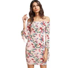 61e999ee203 SheIn Dresses Pink Floral Print Off The Shoulder Three Quarter Length Tie  Sleeve Bodycon Dress