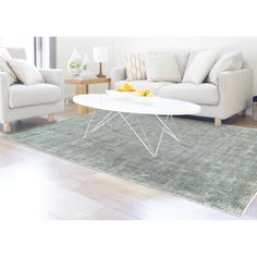 Grand Bazaar Hand Woven Viscose & Cotton Lassiter Rug in Ice 9'-6 x 13'-6 | Overstock.com Shopping - The Best Deals on 7x9 - 10x14 Rugs