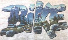 Adult Sweatshirt Mountain Biking Bike Scene Hanes Heavyweight Size Large Gray  #Hanes #Sweatshirt