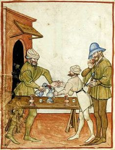 "The wine merchant; from Tacuinum Sanitatis, 15th c., Paris.  A Feast For The Eyes  www.LiquorList.com ""The Marketplace for Adults with Taste!"" @LiquorListcom   #LiquorList.com"