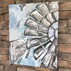 Items similar to In The Wind Windmill original canvas painting on Etsy Farmhouse Paintings, Farm Paintings, Windmill Art, Diy Painting, Painting Inspiration, Art Pictures, Canvas Wall Art, Windmills, Art Projects