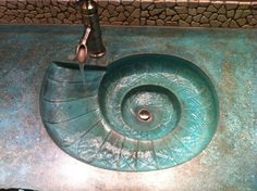 Concrete sink mold, made out of industrial grade rubber Polyurethane. Nautilus Sea Shell spiral design with bathroom lavatory drain. Lavabo Design, Sink Design, Design Design, Sink Countertop, Concrete Countertops, Concrete Sink Molds, Concrete Bathroom, Concrete Wood, Stained Concrete