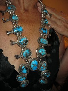 RARE STERLING SILVER AND MORENCI TURQUOISE SQUASH BLOSSOM (private collection)