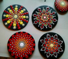 Wood Magnet ~Yellow & Red Ombre Progression ~ Mandala~ Hand Painted by Miranda Pitrone ~ Gift/dot art/ pointillism by P4MirandaPitrone on Etsy