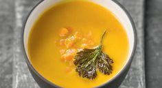 Recette de #velouté de #patate douce, #lentilles corail et #coriandre frite