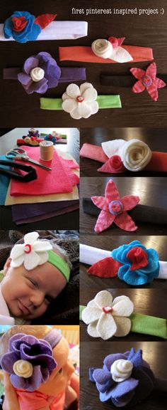 My first completed pinterest inspired project! Just used the inspiration of DIY felt flowers and headbands to create some cute ones for my little girl :)