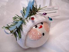 Snowman Ornament Christmas Tree Bulb Hand by TownsendCustomGifts, $9.95