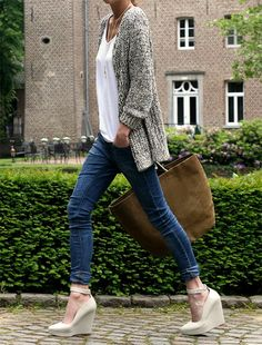 I love everything about this look!   Fancy - Loose Knit Cardigan - http://www.thefancy.com/things/242439665070640175/Loose-Knit-Cardigan#