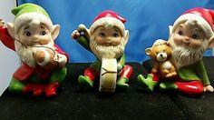 Set of 3 Vintage Homco / Home Interiors Christmas Elves- 5618 ;Ceramic Figurines • CAD 21.31 - PicClick CA