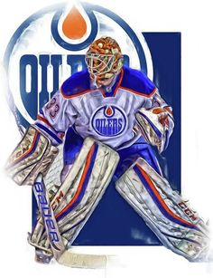 Cam Talbot Print featuring the mixed media Cam Talbot Edmonton Oilers Oil Art by Joe Hamilton