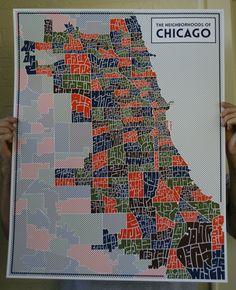 Image of Chicago Typography Neighborhood Map 22